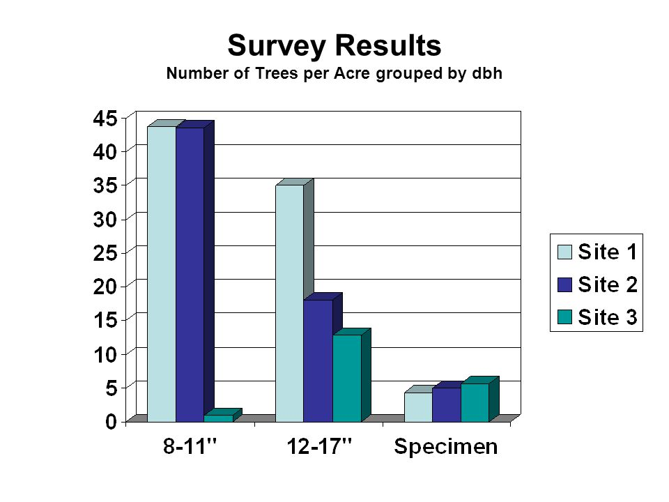 Survey Results Number of Trees per Acre grouped by dbh