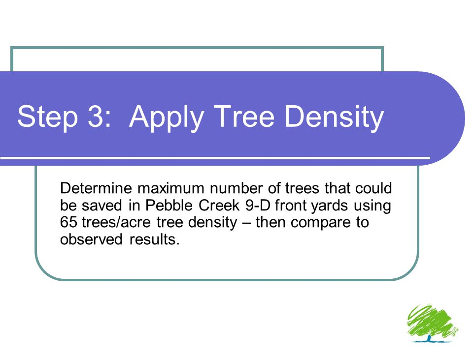 Step 3: Apply Tree Density Determine maximum number of trees that could be saved in Pebble Creek 9-D front yards using 65 trees/acre tree density – then compare to observed results.