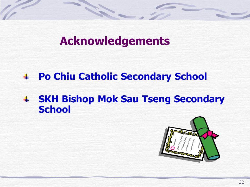 22 Acknowledgements Po Chiu Catholic Secondary School SKH Bishop Mok Sau Tseng Secondary School