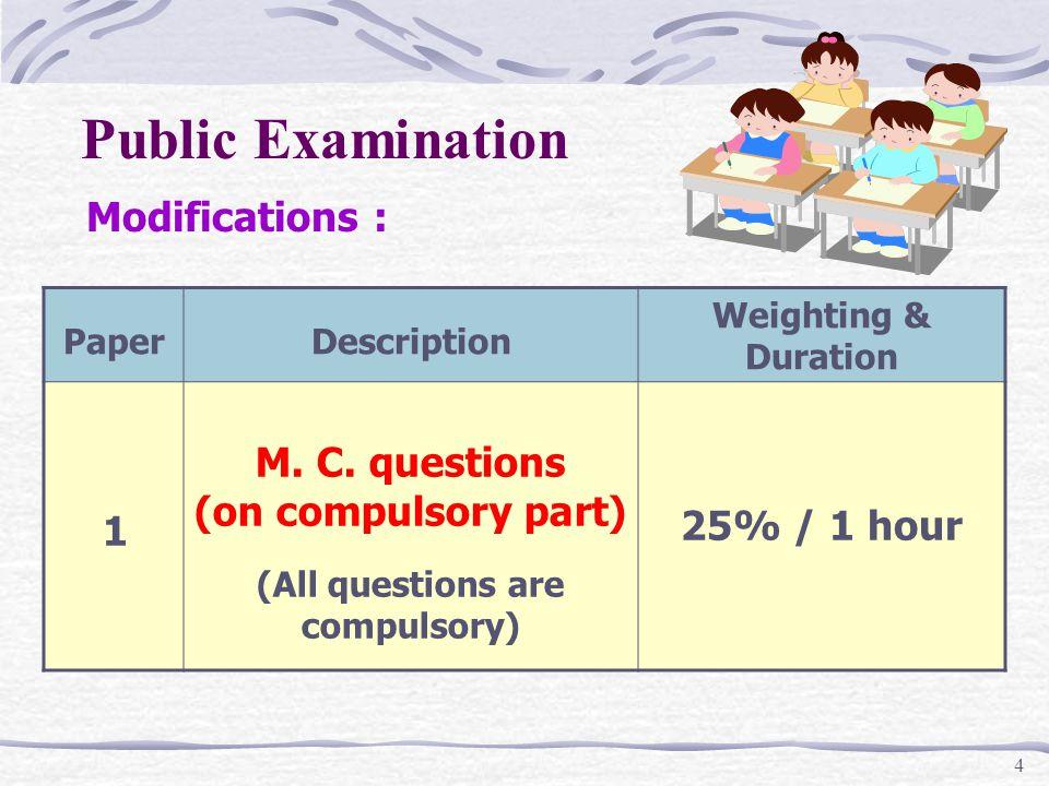 4 Public Examination PaperDescription Weighting & Duration 1 M.