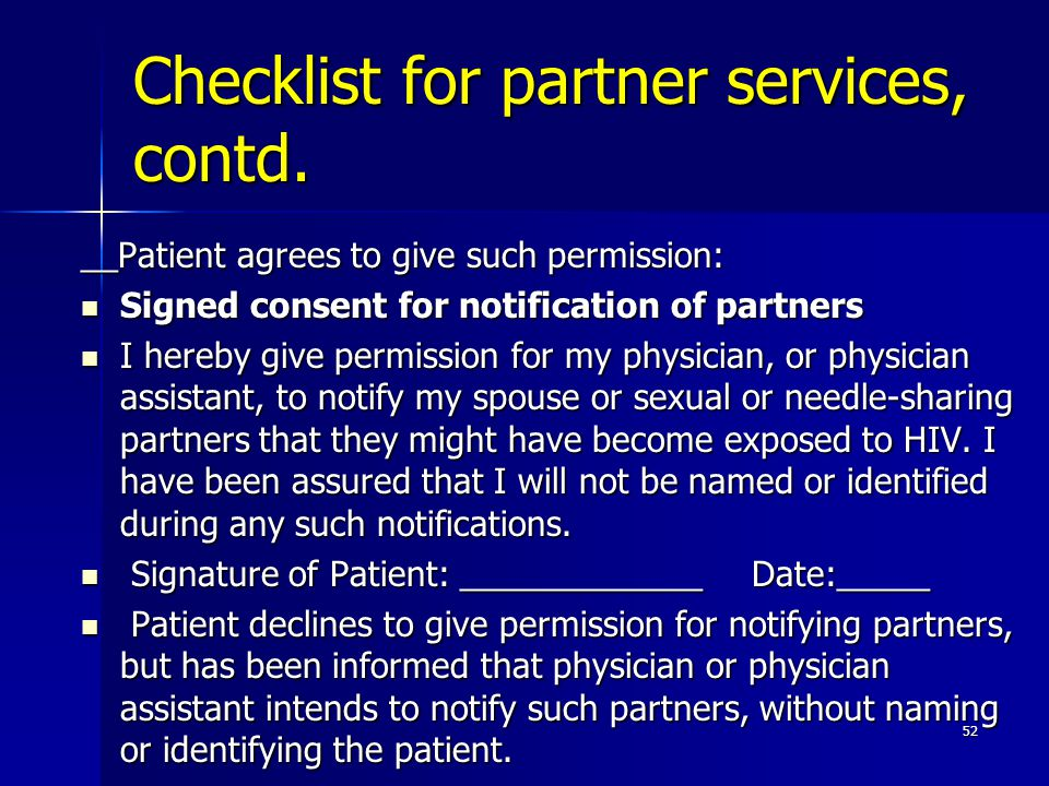 Checklist for partner services, contd.