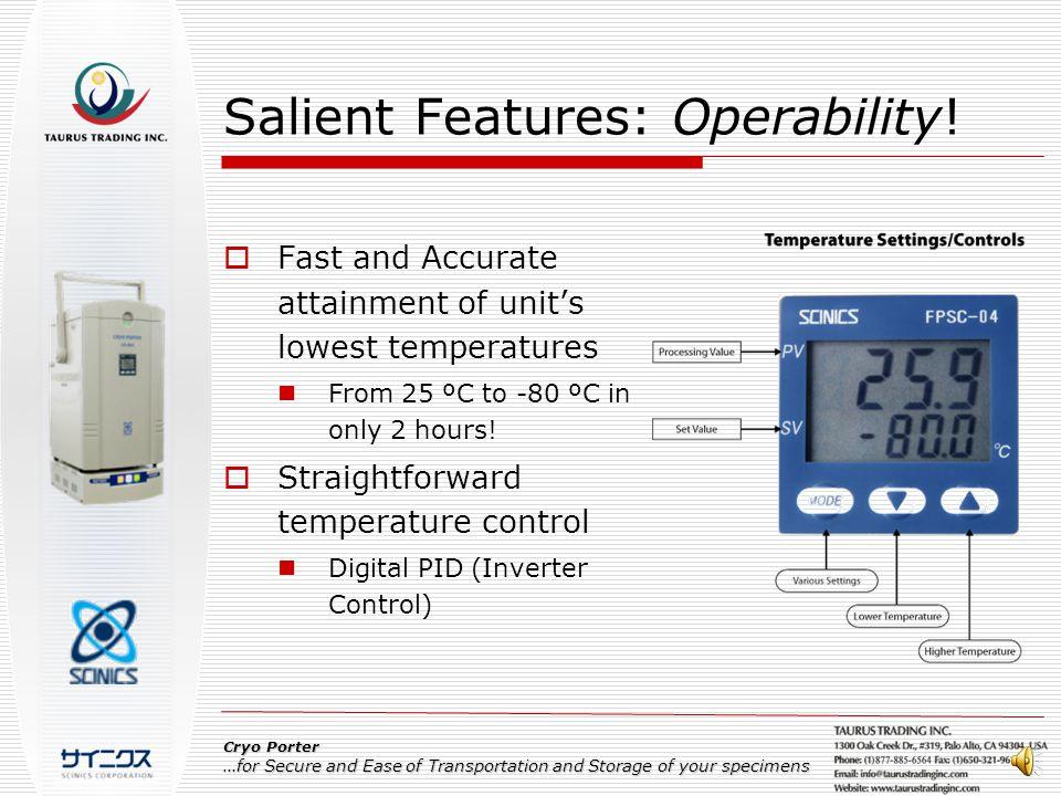 Salient Features: Operability.