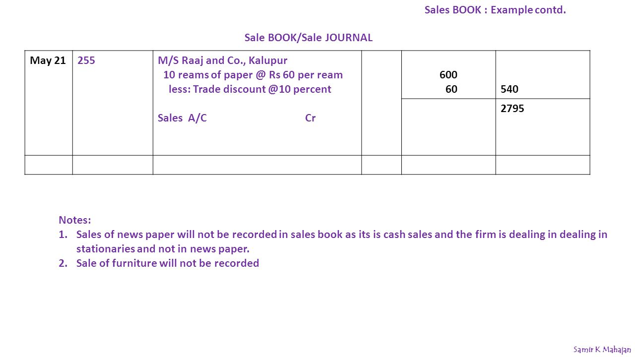 Sale BOOK/Sale JOURNAL May 21255M/S Raaj and Co., Kalupur 10 reams of paper @ Rs 60 per ream less: Trade discount @10 percent Sales A/C Cr 600 60540 2