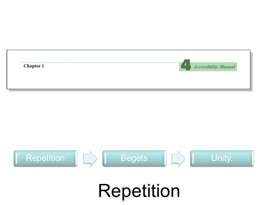 Repetition Begets Unity.