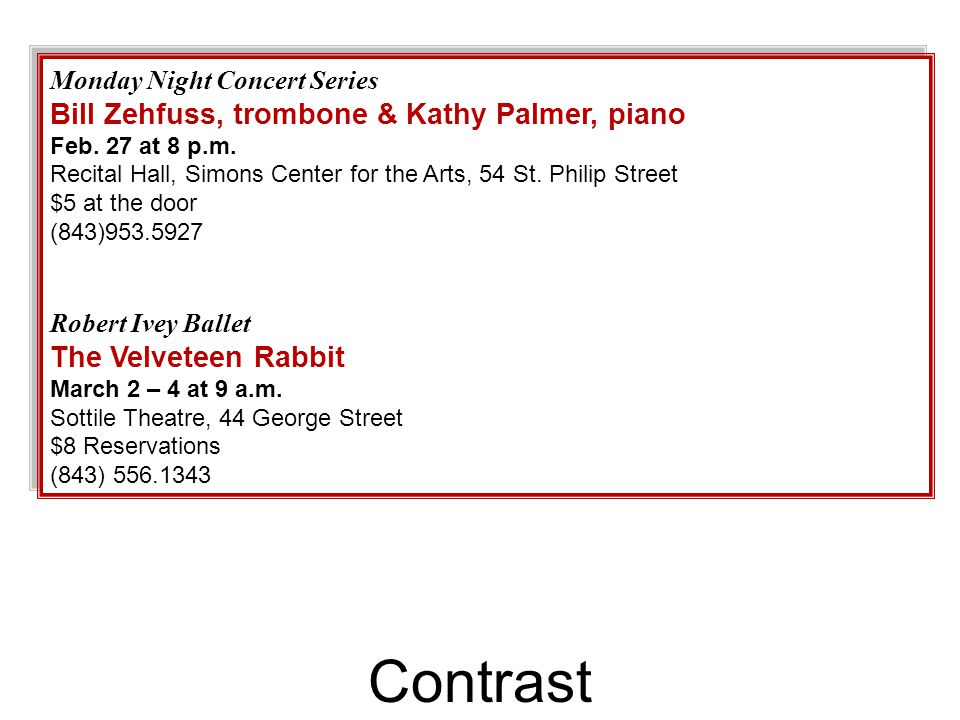 Contrast Monday Night Concert Series Bill Zehfuss, trombone & Kathy Palmer, piano Feb.