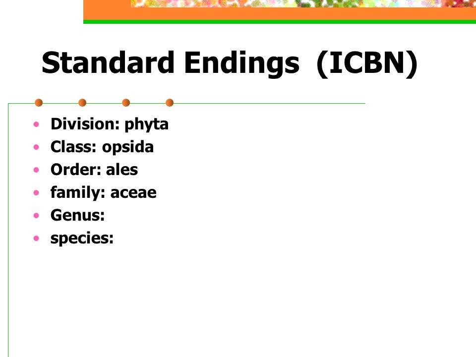 Standard Endings (ICBN) Division: phyta Class: opsida Order: ales family: aceae Genus: species: