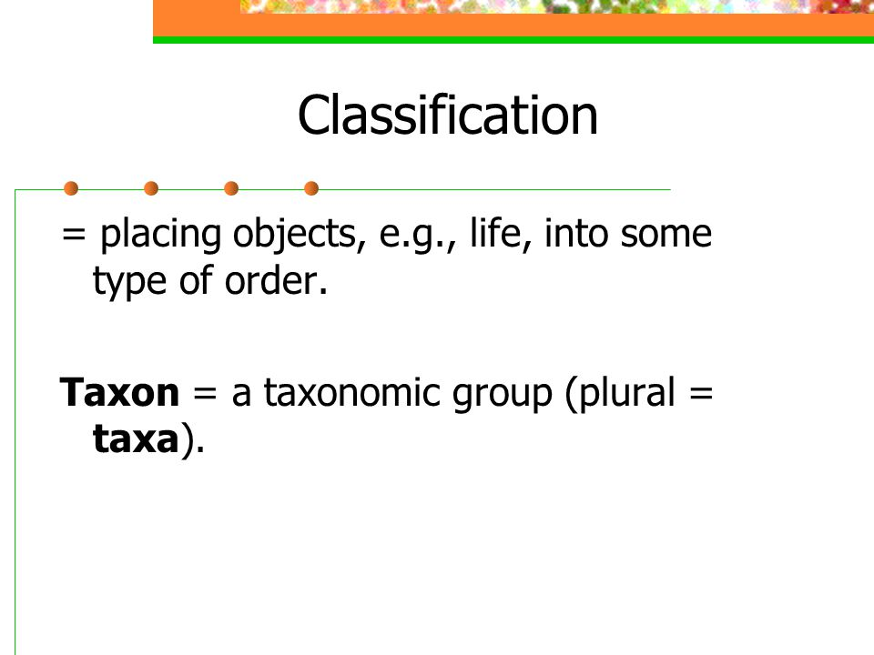 Classification = placing objects, e.g., life, into some type of order.