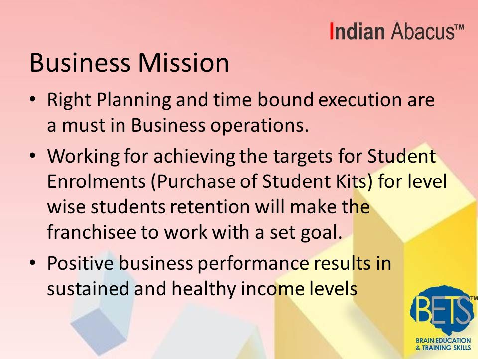 Business Mission Right Planning and time bound execution are a must in Business operations.
