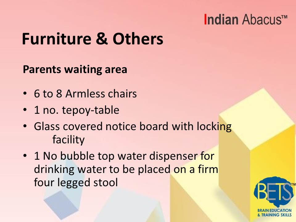 Furniture & Others General: -Foot-wear Rack -Toiletry for toilets