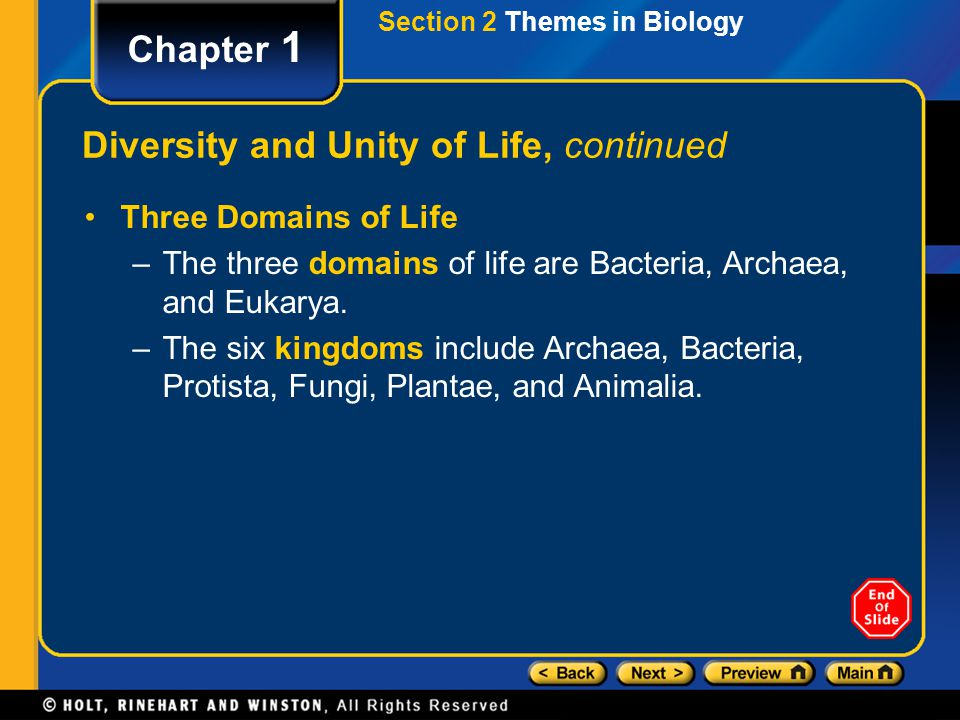 Chapter 1 Diversity and Unity of Life, continued Three Domains of Life –The three domains of life are Bacteria, Archaea, and Eukarya. –The six kingdom