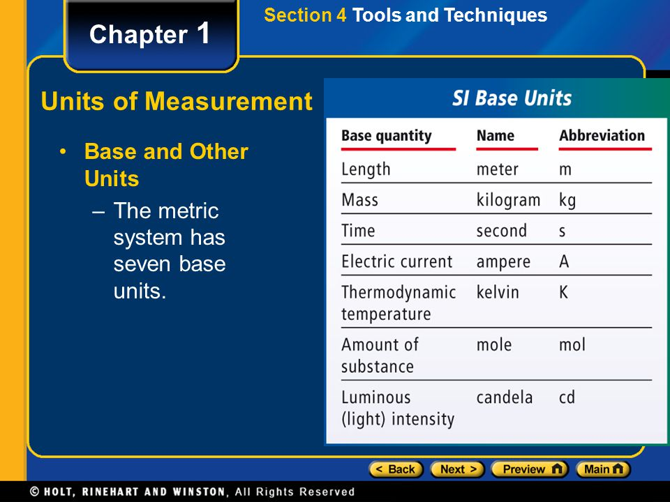 Section 4 Tools and Techniques Chapter 1 Units of Measurement Base and Other Units –The metric system has seven base units.