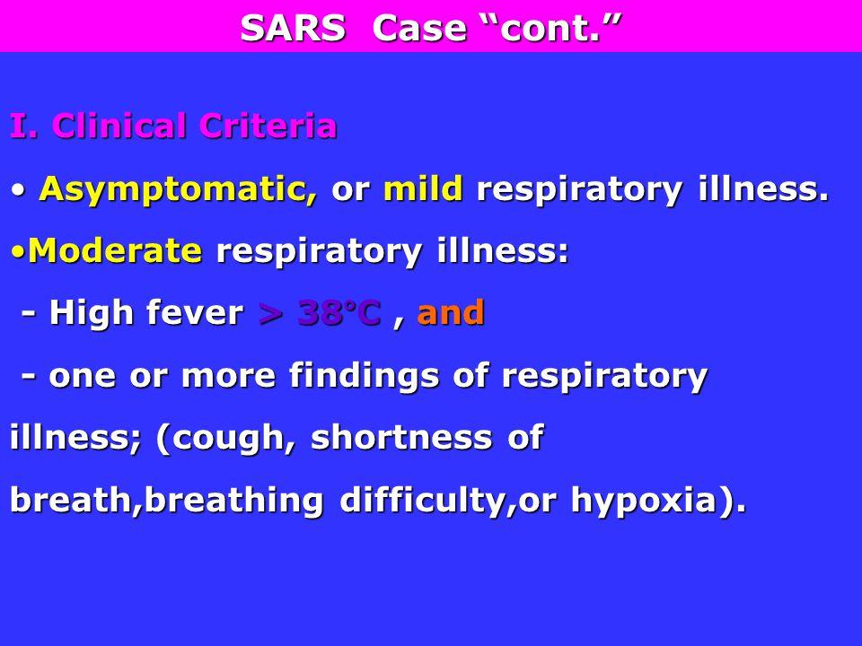 I. Clinical Criteria Asymptomatic, or mild respiratory illness.