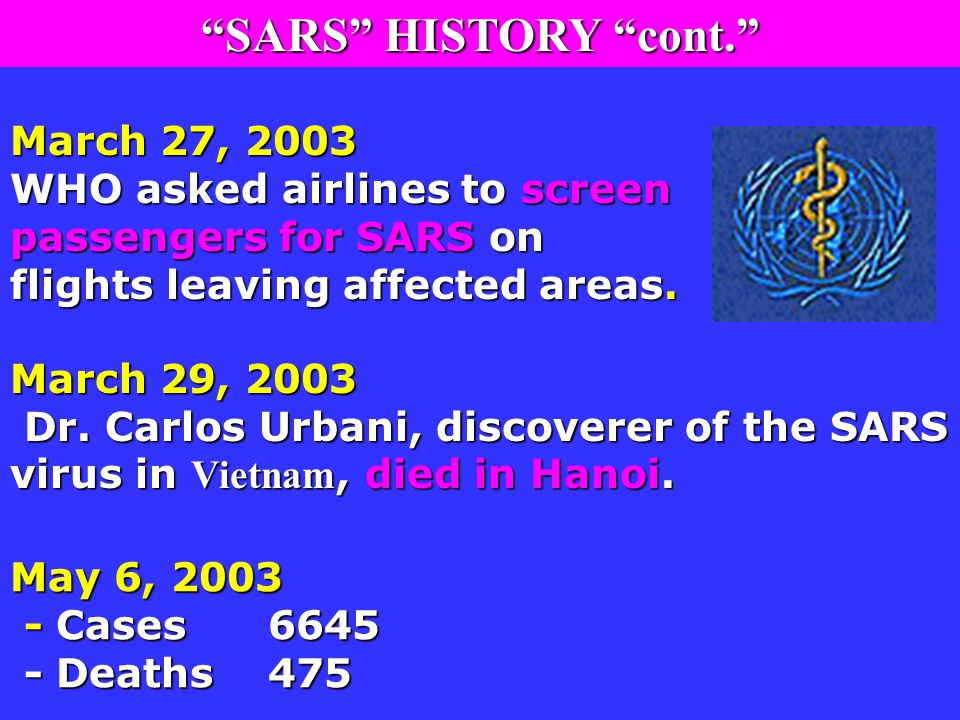 March 27, 2003 WHO asked airlines to screen passengers for SARS on flights leaving affected areas.