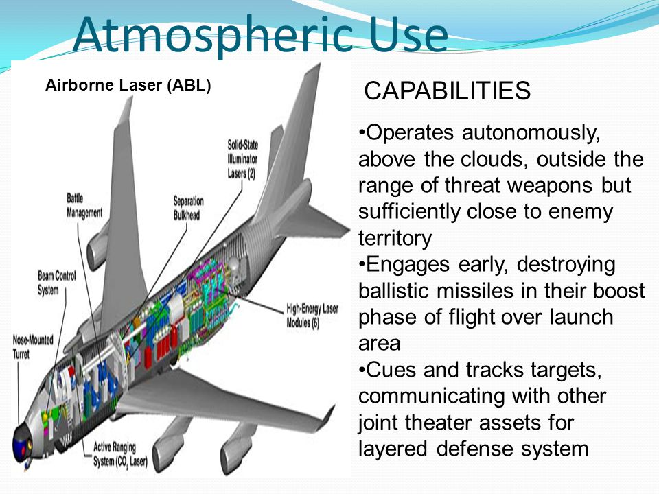 Atmospheric Use Operates autonomously, above the clouds, outside the range of threat weapons but sufficiently close to enemy territory Engages early, destroying ballistic missiles in their boost phase of flight over launch area Cues and tracks targets, communicating with other joint theater assets for layered defense system CAPABILITIES Airborne Laser (ABL)