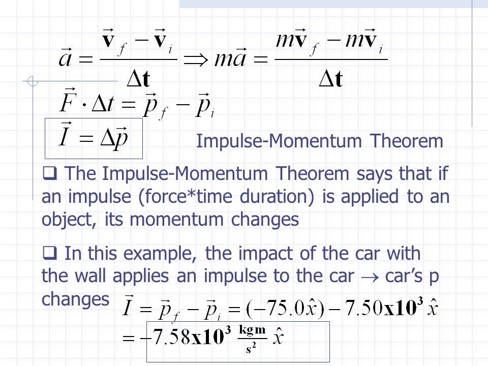 Impulse-Momentum Theorem  The Impulse-Momentum Theorem says that if an impulse (force*time duration) is applied to an object, its momentum changes  In this example, the impact of the car with the wall applies an impulse to the car  car's p changes