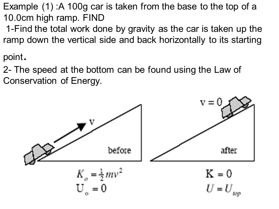27 Example (1) :A 100g car is taken from the base to the top of a 10.0cm high ramp. FIND 1-Find the total work done by gravity as the car is taken up