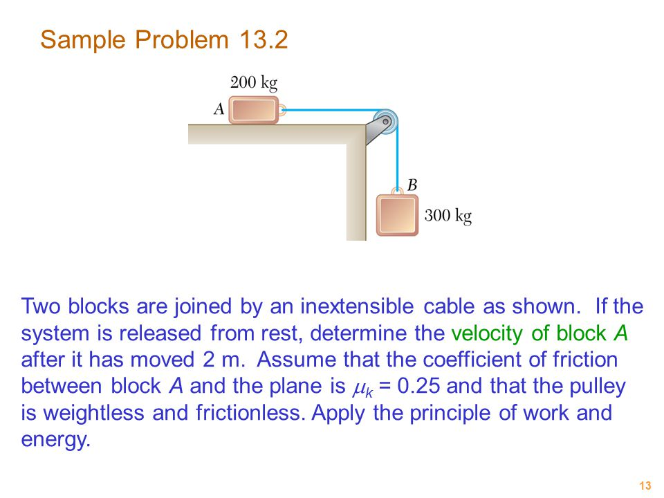 13 Sample Problem 13.2 Two blocks are joined by an inextensible cable as shown. If the system is released from rest, determine the velocity of block A