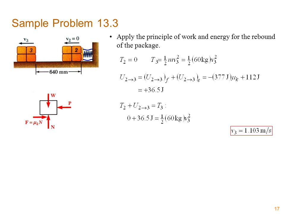 17 Sample Problem 13.3 Apply the principle of work and energy for the rebound of the package.