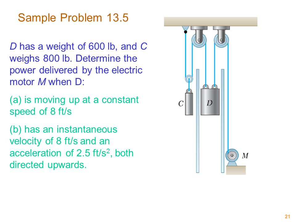 21 Sample Problem 13.5 D has a weight of 600 lb, and C weighs 800 lb. Determine the power delivered by the electric motor M when D: (a) is moving up a
