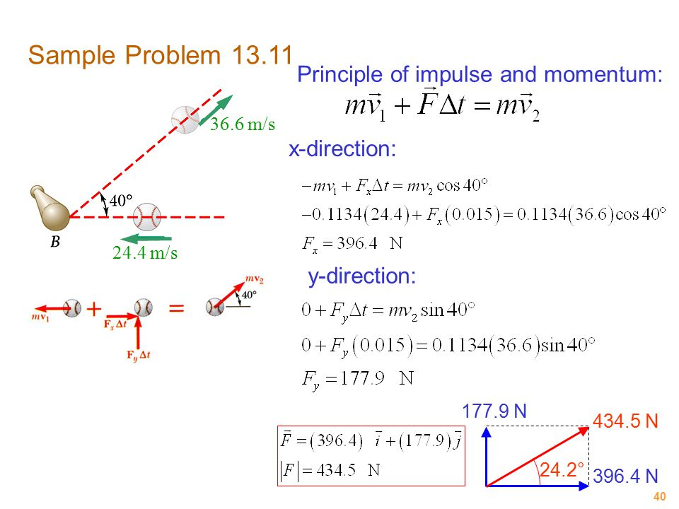 40 Sample Problem 13.11 Principle of impulse and momentum: x-direction: 24.4 m/s 36.6 m/s y-direction: 396.4 N 177.9 N 434.5 N 24.2°