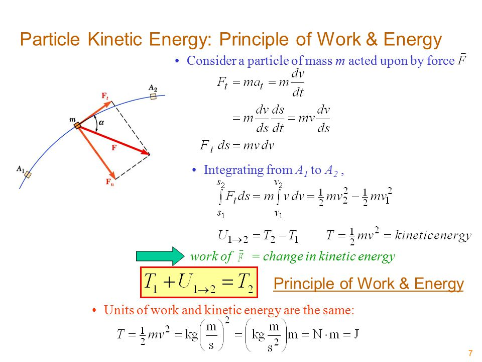7 Particle Kinetic Energy: Principle of Work & Energy Consider a particle of mass m acted upon by force Integrating from A 1 to A 2, work of = change