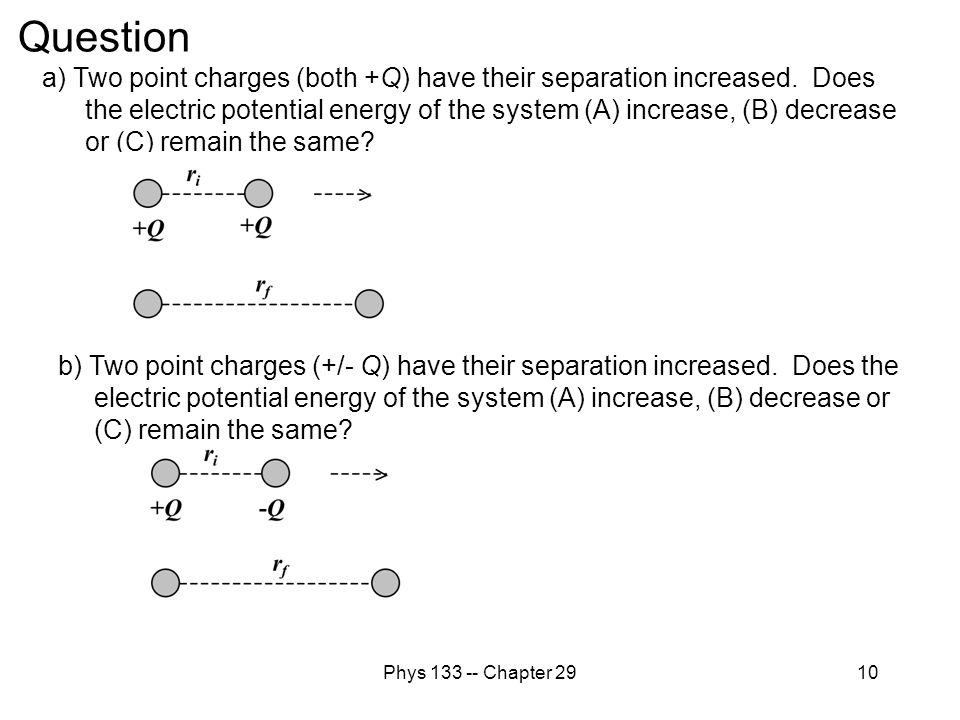 Phys 133 -- Chapter 2910 Question b) Two point charges (+/- Q) have their separation increased. Does the electric potential energy of the system (A) i