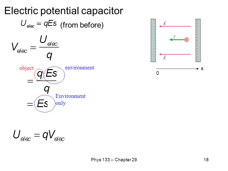 Phys 133 -- Chapter 2918 Electric potential capacitor s 0 (from before) environment object Environment only