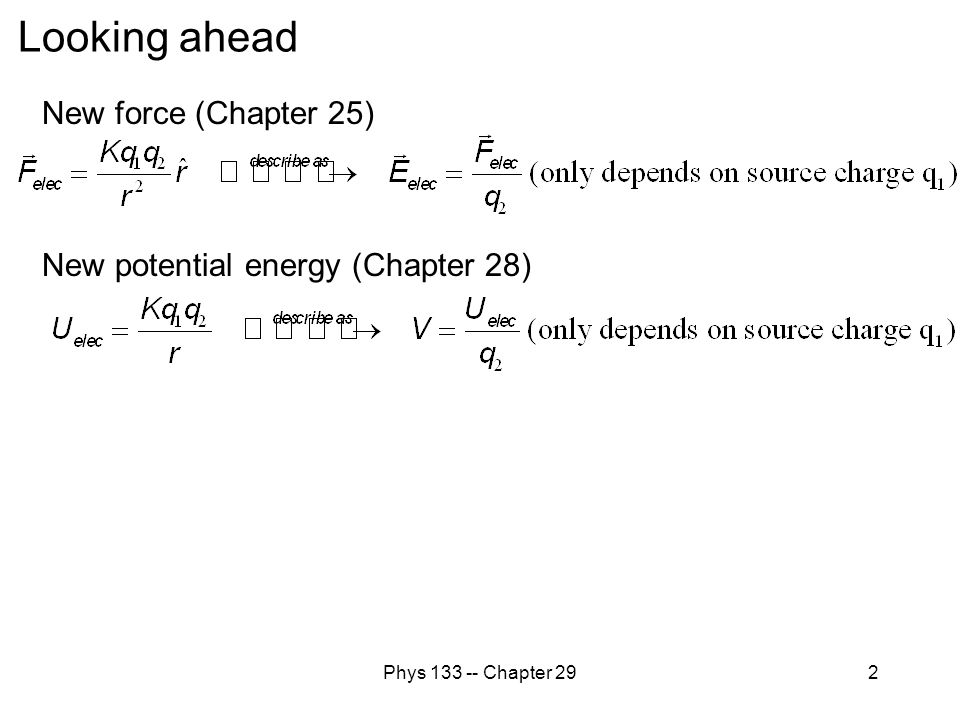 Phys 133 -- Chapter 292 Looking ahead New force (Chapter 25) New potential energy (Chapter 28)