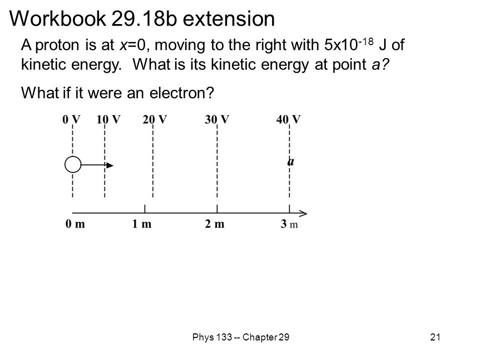 Phys 133 -- Chapter 2921 Workbook 29.18b extension A proton is at x=0, moving to the right with 5x10 -18 J of kinetic energy. What is its kinetic ener