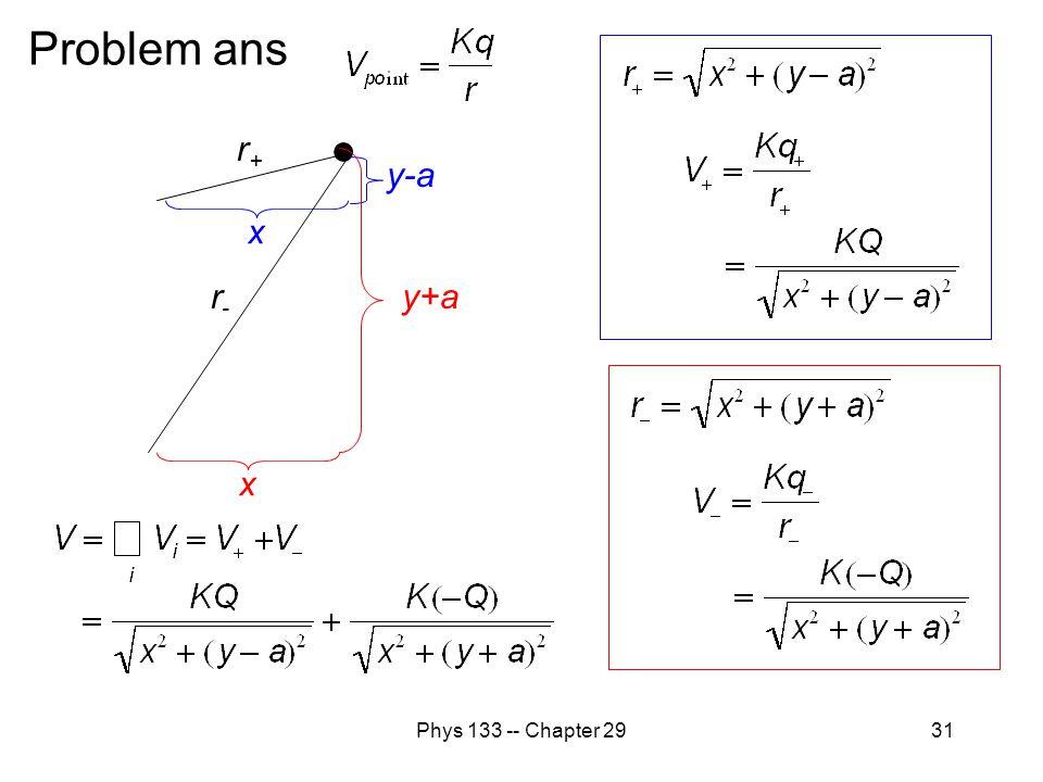 Phys 133 -- Chapter 2931 Problem ans r+r+ y-a xx y+a r-r-