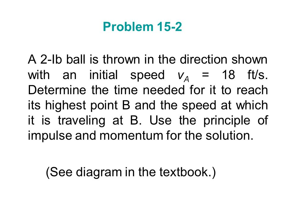 Problem 15-2 A 2-Ib ball is thrown in the direction shown with an initial speed v A = 18 ft/s. Determine the time needed for it to reach its highest p
