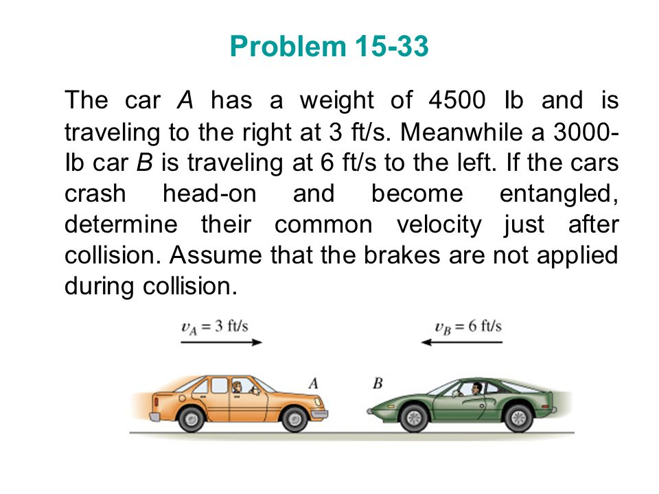 Problem 15-33 The car A has a weight of 4500 Ib and is traveling to the right at 3 ft/s. Meanwhile a 3000- Ib car B is traveling at 6 ft/s to the left