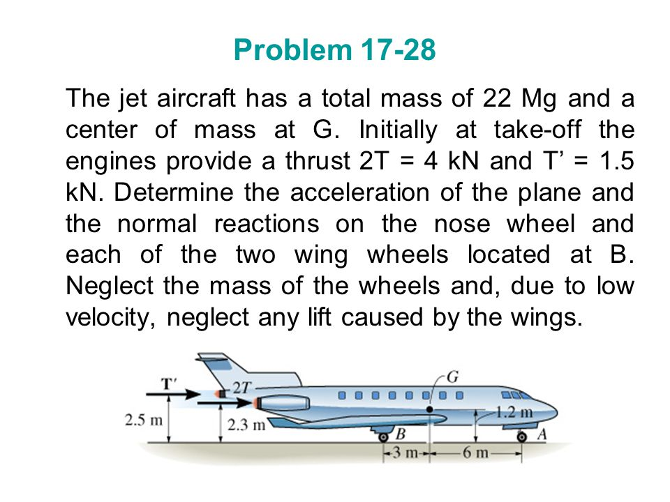 Problem 17-28 The jet aircraft has a total mass of 22 Mg and a center of mass at G. Initially at take-off the engines provide a thrust 2T = 4 kN and T