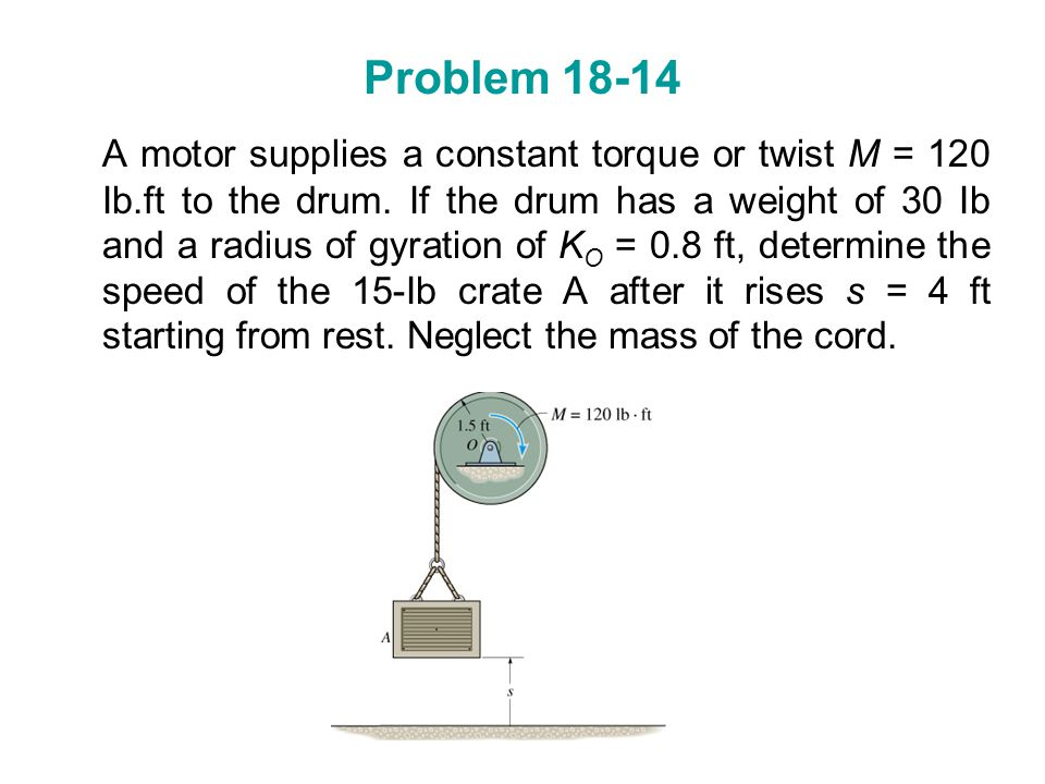 Problem 18-14 A motor supplies a constant torque or twist M = 120 Ib.ft to the drum. If the drum has a weight of 30 Ib and a radius of gyration of K O