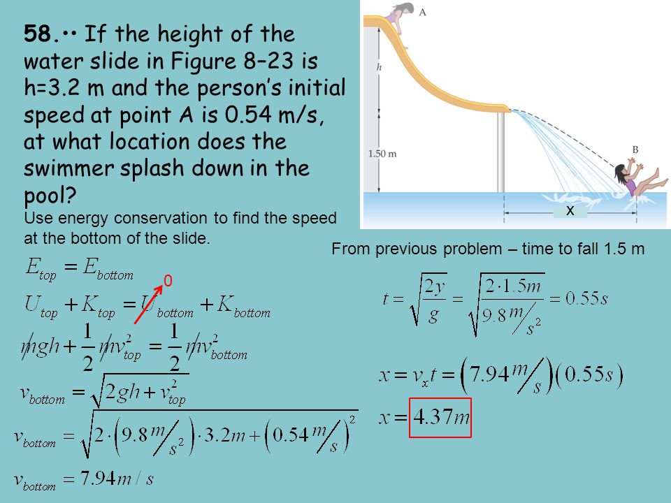 58. If the height of the water slide in Figure 8–23 is h=3.2 m and the person's initial speed at point A is 0.54 m/s, at what location does the swimme
