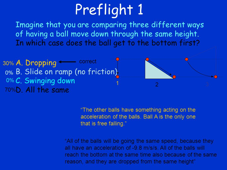 Preflight 1 Imagine that you are comparing three different ways of having a ball move down through the same height. In which case does the ball get to