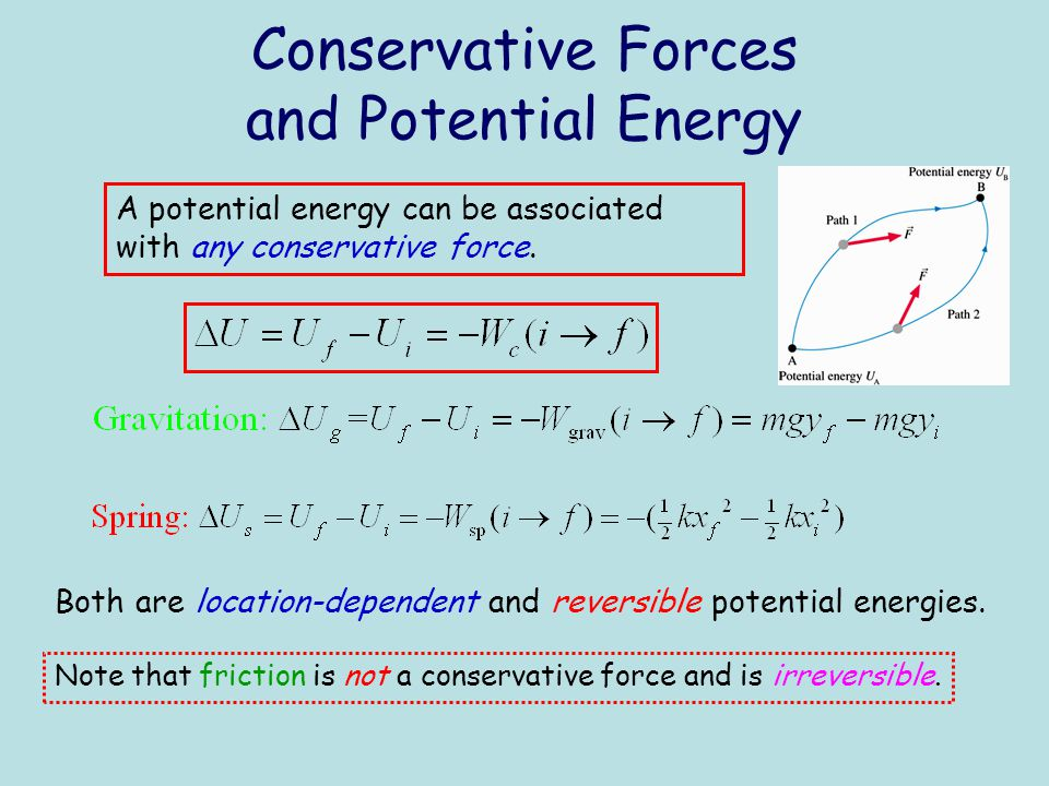 Conservative Forces and Potential Energy A potential energy can be associated with any conservative force. Both are location-dependent and reversible