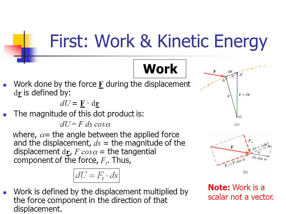 First: Work & Kinetic Energy – Cont.Work – Cont.