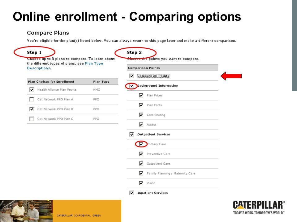 CATERPILLAR CONFIDENTIAL: GREEN Online enrollment - Comparing options