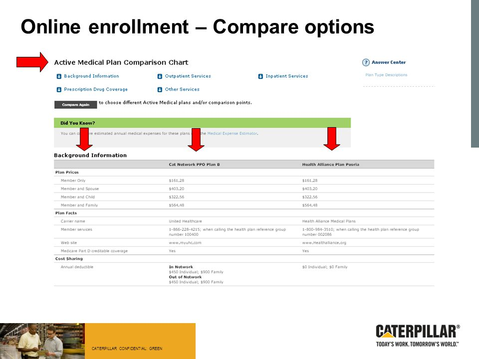 CATERPILLAR CONFIDENTIAL: GREEN Online enrollment – Compare options