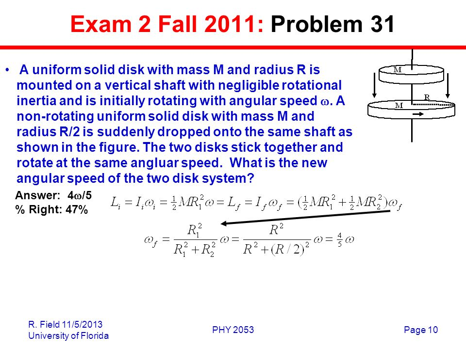 R. Field 11/5/2013 University of Florida PHY 2053Page 10 Exam 2 Fall 2011: Problem 31 A uniform solid disk with mass M and radius R is mounted on a ve