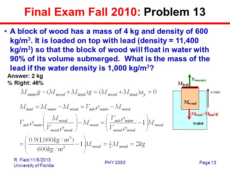 R. Field 11/5/2013 University of Florida PHY 2053Page 13 Final Exam Fall 2010: Problem 13 A block of wood has a mass of 4 kg and density of 600 kg/m 3