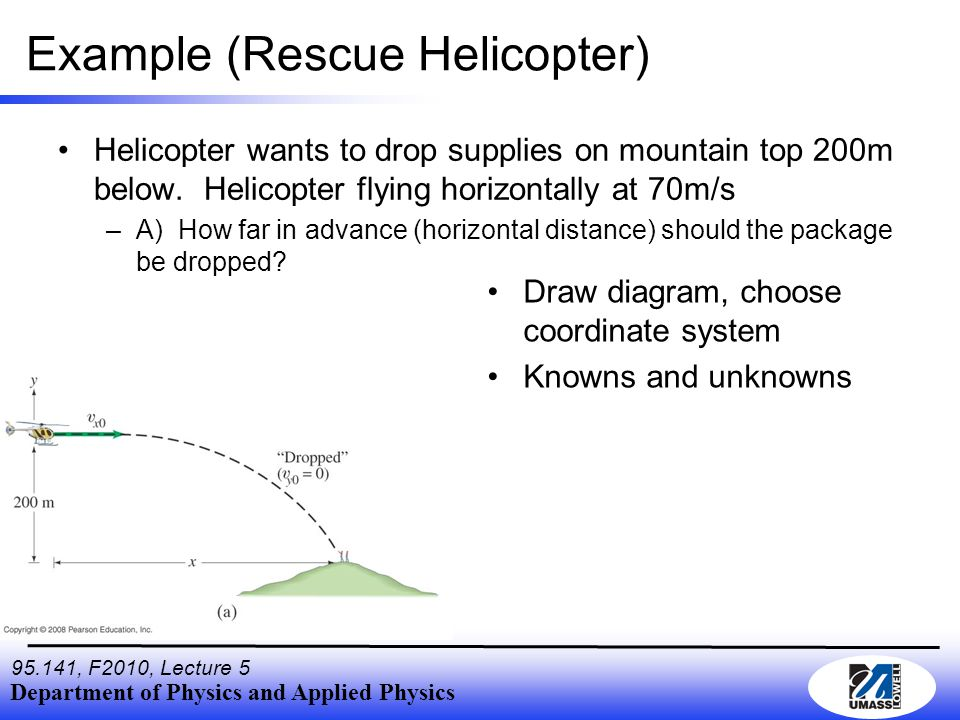 Department of Physics and Applied Physics 95.141, F2010, Lecture 5 Example (Rescue Helicopter) Helicopter wants to drop supplies on mountain top 200m below.