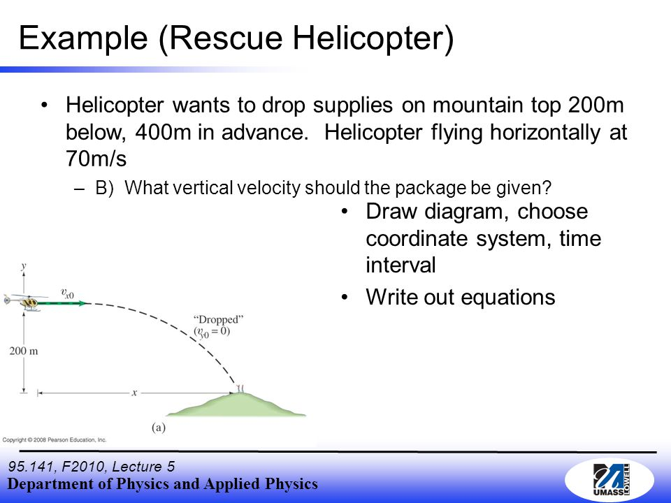 Department of Physics and Applied Physics 95.141, F2010, Lecture 5 Example (Rescue Helicopter) Helicopter wants to drop supplies on mountain top 200m below, 400m in advance.
