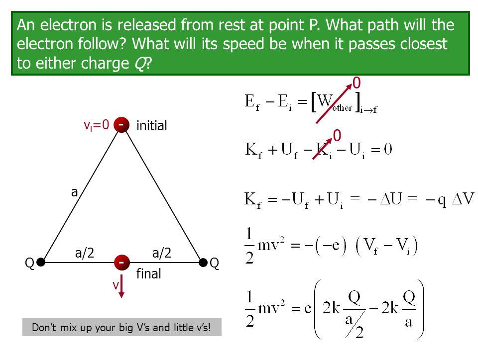 Q Q a - - v v i =0 initial final a/2 Don't mix up your big V's and little v's! 0 0