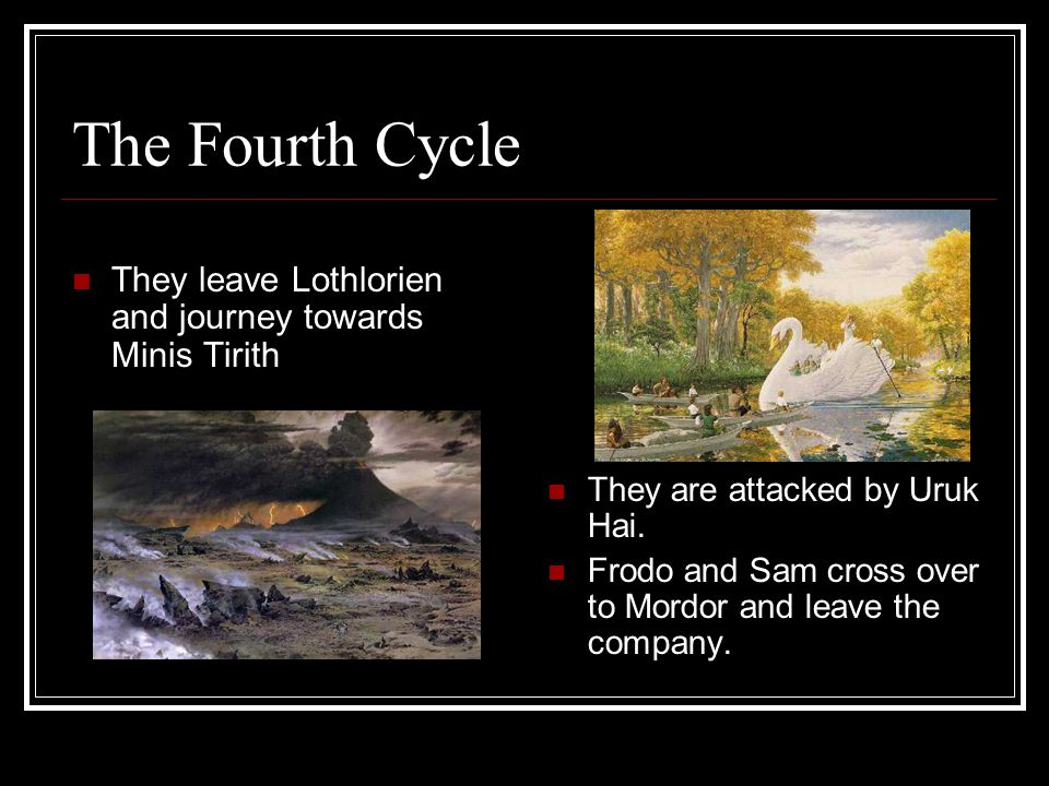 The Fourth Cycle They rest in Lothlorien. The fellowship has been broken with the loss of Gandalf.