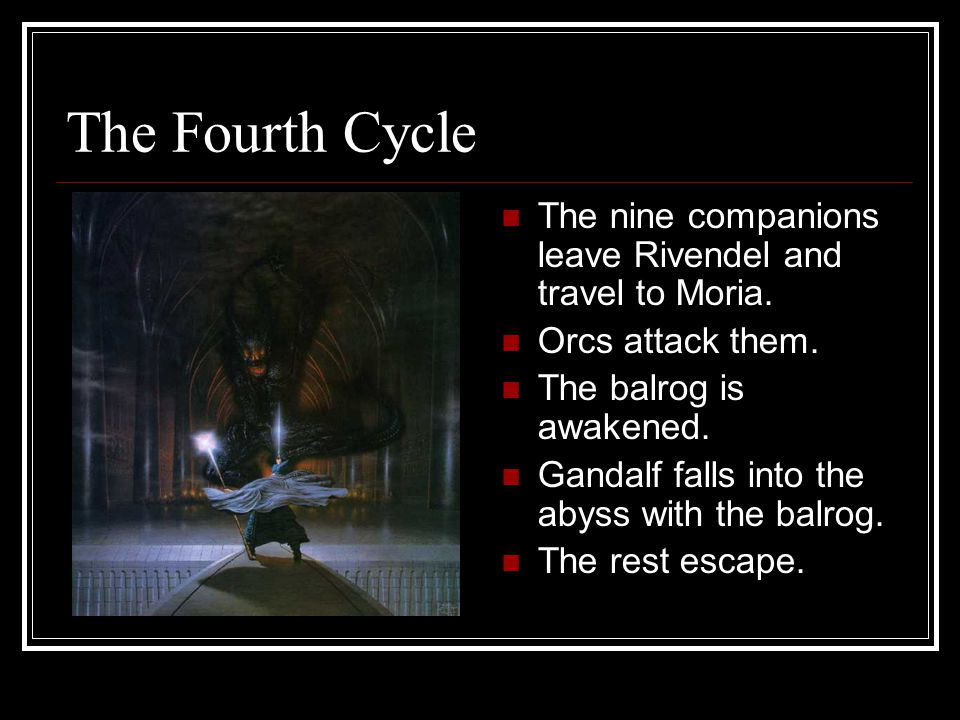 The Fourth Cycle The nine companions leave Rivendel and travel to Moria.