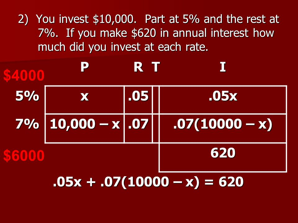2) You invest $10,000. Part at 5% and the rest at 7%.