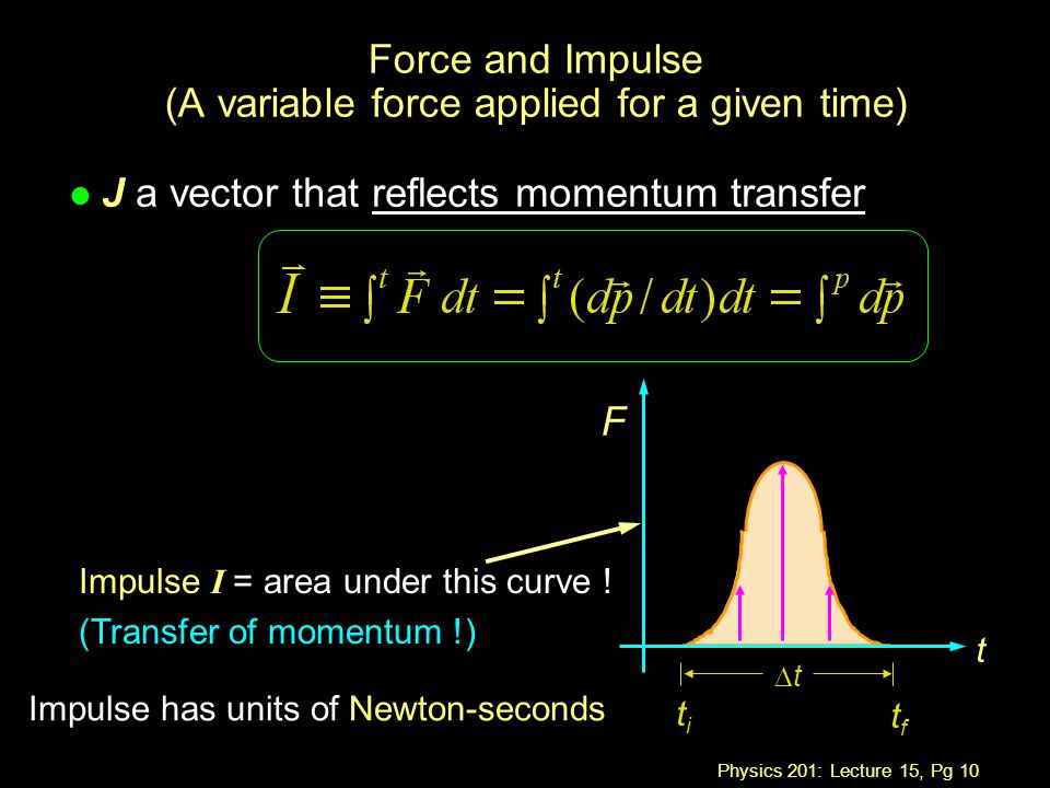 Physics 201: Lecture 15, Pg 10 Force and Impulse (A variable force applied for a given time) F l J a vector that reflects momentum transfer t titi tftf tt Impulse I = area under this curve .