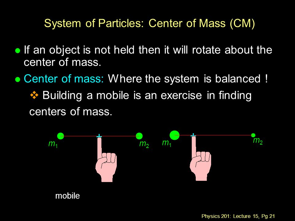 Physics 201: Lecture 15, Pg 21 System of Particles: Center of Mass (CM) l If an object is not held then it will rotate about the center of mass.